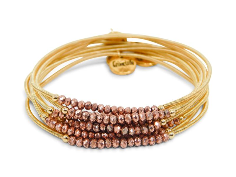 Gold Slinky Stack W/ Rosegold Beads