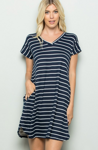 SHORT SLEEVE V NECK STRIPE PRINT DRESS WITH SIDE POCKET