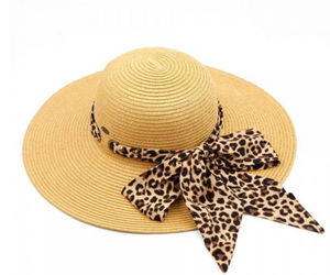 Leopard Print Pull Through Sash Scarf Paper Straw Wide Brim Sun Hat