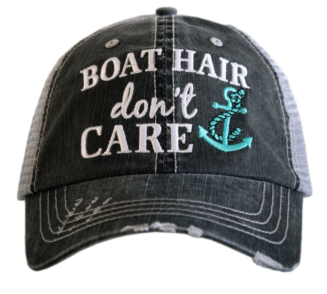 BOAT HAIR DON'T CARE CAP W/ ANCHOR DESIGN