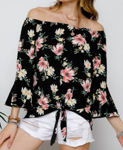Floral Off The Shoulder Shoulder Top W/ Front Tie