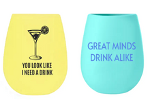 Set of 2 Silicone Wine Cups