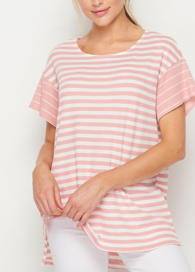 Pink And White Stripe Top
