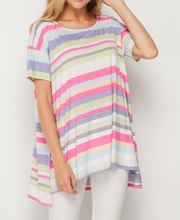Multi Color Striped Flowy Top