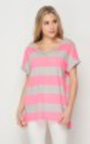 Neon Pink and Grey Striped V Neck Top