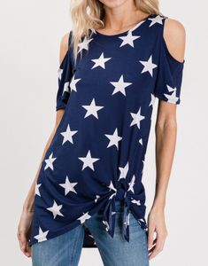 COLD SHOULDER STAR PRINT TOP W/ TIE DETAIL
