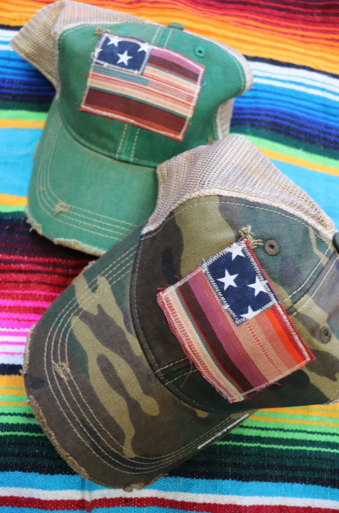 Patriotic Fabric Caps W/ Serape Patch