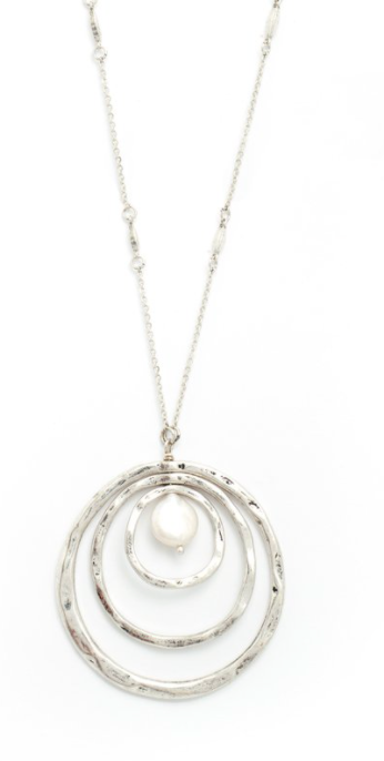 Long Accented Necklace W/ Triple Circle & Pearl