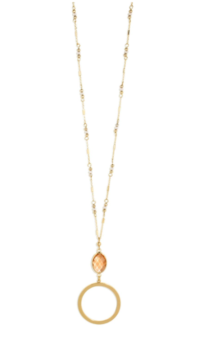 Oval Crystal W/ Open Circle Pendant Gold Neckalce