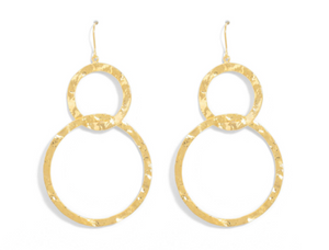 Double Textured Open Circle Earrings