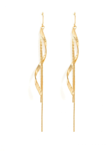 Long Swirl Double Chain Earrings