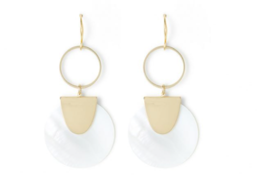 Round Shell Earrings on Gold Ring