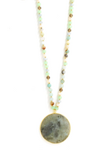 Gold Framed Stone Necklace on Beaded Chain