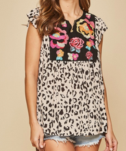 Floral Embroidered Leopard Top