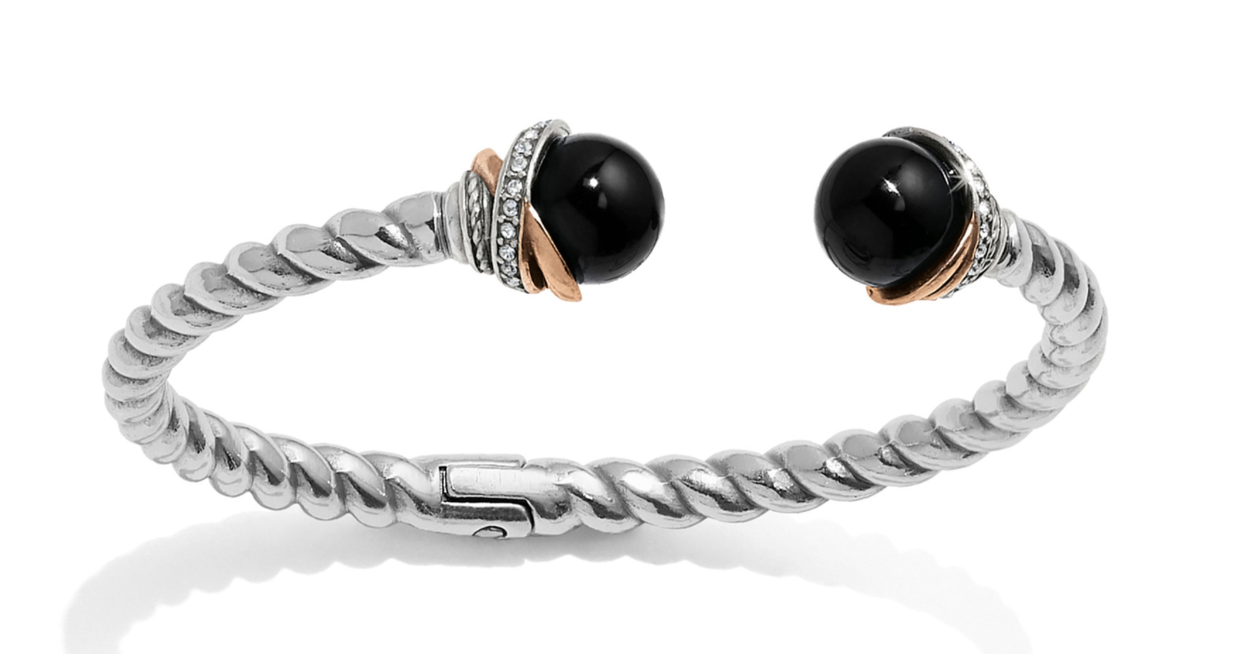 Neptune's Rings Black Agate Open Hinged Bangle - Brighton