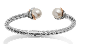 Neptune's Rings Pearl Open Hinged Bangle - Brighton