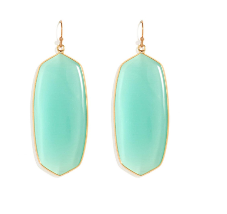 Gold Framed Aqua Stone Earrings