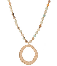 Long Semi Precious Beaded Hammered Pendant Necklace