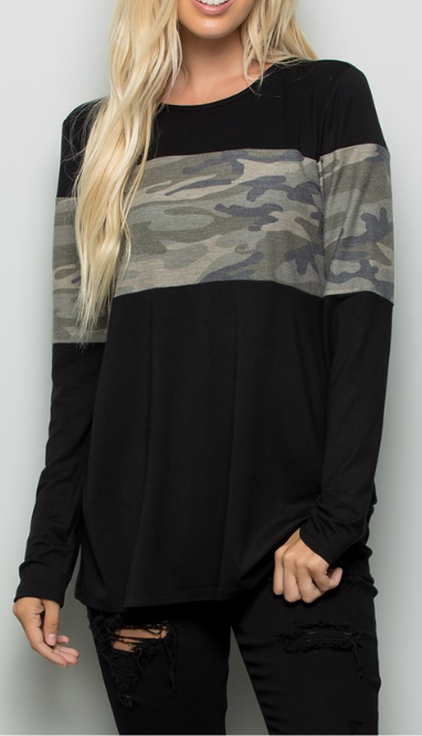 Black Top with Camo Stripe