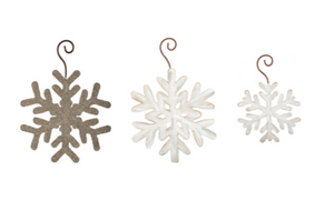 GLITTERED SNOWFLAKE ORNAMENTS - The Roundtop Collection
