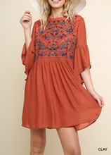 Bell Sleeve Dress w/ Embroidery