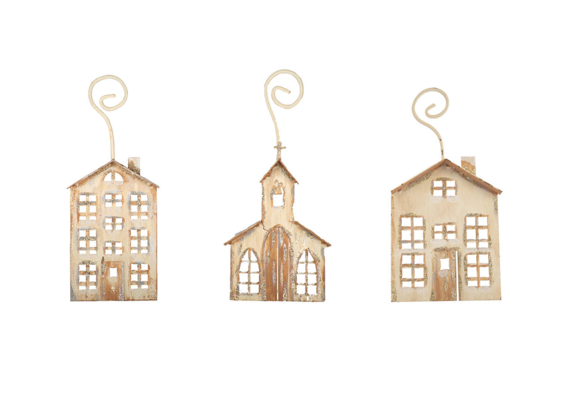 Natural Christmas Village Ornaments-The Roundtop Collection