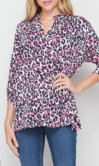 The Gabby Top - Navy and Pink Leopard