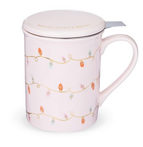 Annette Lights Pink Ceramic Tea Mug & Infuser by Pinky Up