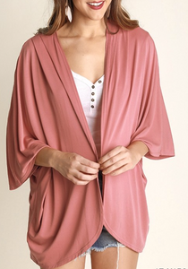 Lightweight Cardigan With Dolman Sleeves