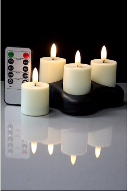 Radiance Rechargeable Votives With Remote - Set of 4