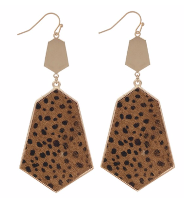 Metal Encased Faux Leather Leopard Earrings