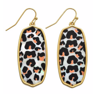 Abalone Leopard Drop Earrings