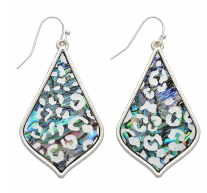 Abalone Leopard Teardrop Earrings