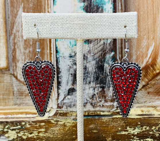 Red Rhinestone Elongated Heart Earrings