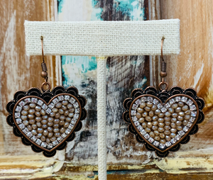 Taupe Rhinestone Heart Earrings