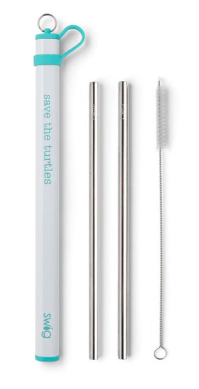 Double Stainless Steel Straw Set