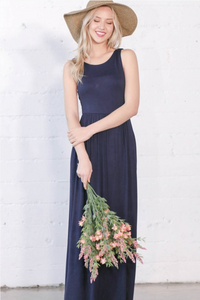 NAVY SOLID COLOR MAXI DRESS