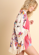 Cream Watercolor Floral Kimono with Brush Fringe