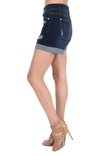 Dark blue Cuffed Boyfriend Shorts