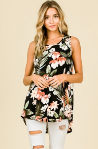 Relaxed Floral Print Sleeveless Top