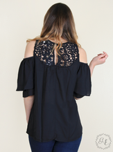 Cold Shoulder Blouse with Crochet Lace Detail