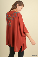 Floral Embroidered Kimono- Red Clay