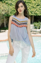 Stripe Sleeveless Top with Trim