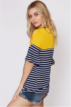 Color Block Striped Top W/ Ruffled Sleeves