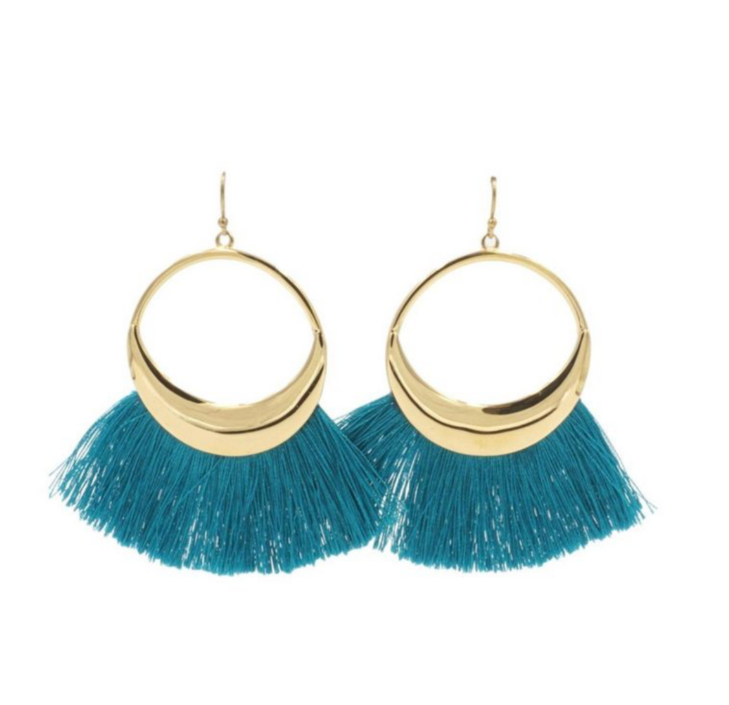 TASSEL COLLECTION - ARIEL HOOP FRINGE EARRINGS
