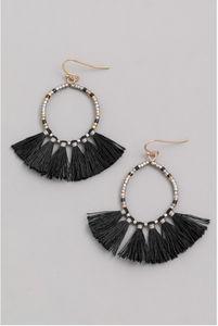 Black Hoop Earrings Set With Bead and Tassel Detail