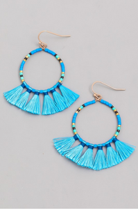 Blue Hoop Earrings Set With Bead and Tassel Detail
