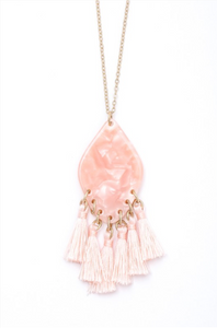 Pink Long Tasseled Diamond Acetate Necklace