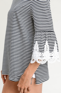 STRIPE TOP WITH CROCHET SCALLOP LACE DETAILED SLEEVES