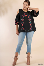 Embroidered Puff Sleeve Top